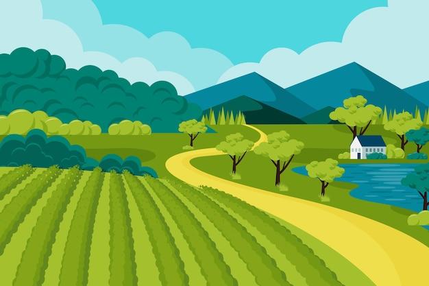 Handgetekend landschap met veld
