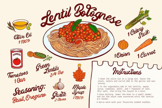 Handgetekend linzen bolognese recept