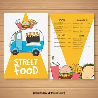 Handgetekend menu voor voedsel truck