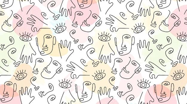 Handgetekend met naadloze patroon van één regel gezichten