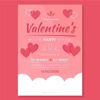 Handgetekend met valentijnsdagfeest