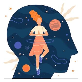 Handgetekend mindfulness-concept met karakters