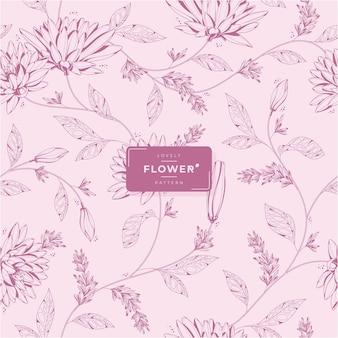 Handgetekend mooi roze bloemenpatroon