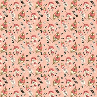 Handgetekend naadloos boho-patroon