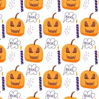 Handgetekend naadloos patroon met halloween-pompoen een patroon met een sinistere pompoen en kaarsen