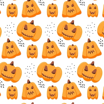 Handgetekend naadloos patroon met halloween-pompoenen griezelig eng pompoenpatroon