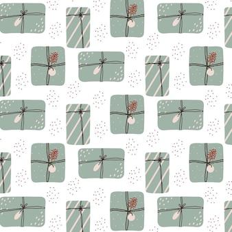 Handgetekend naadloos patroon met kerstcadeaus kerstpatroon met cadeaus