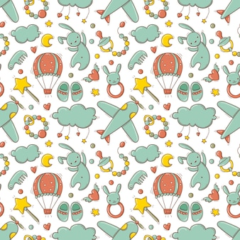 Handgetekend naadloos patroon met kleurrijk babyspeelgoed en accessoires