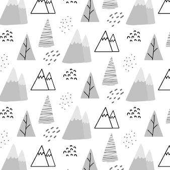 Handgetekend naadloos patroon voor kinderen met bergen