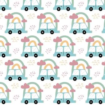 Handgetekend naadloos patroon voor kinderen met een blauwe auto patroon met een auto en een regenboog