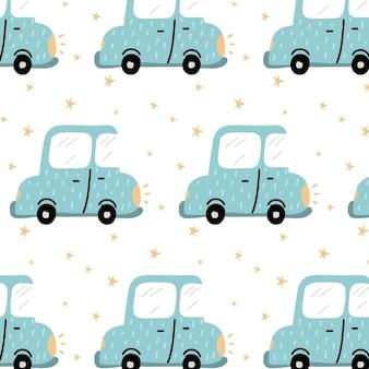 Handgetekend naadloos patroon voor kinderen met een blauwe auto