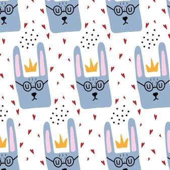 Handgetekend naadloos patroon voor kinderen met haas die een bril draagt