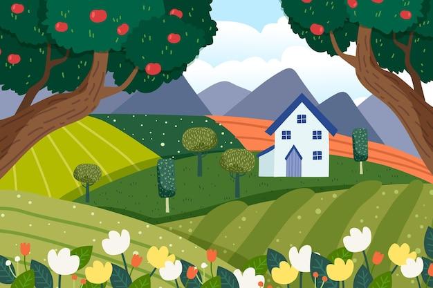 Handgetekend natuurlijk landschap met huis