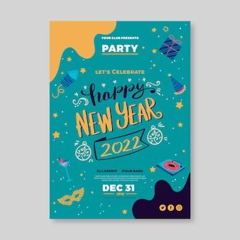 Handgetekend nieuwjaar verticale postersjabloon