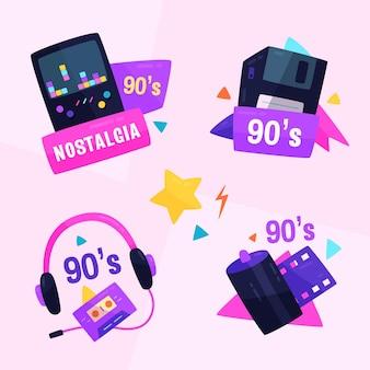 Handgetekend nostalgisch badgepakket