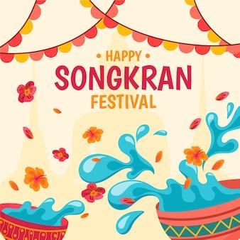 Handgetekend ontwerp songkran-evenement