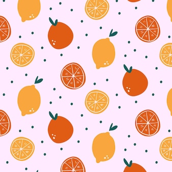 Handgetekend oranje fruitpatroon