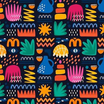 Handgetekend patroon met abstracte vormen