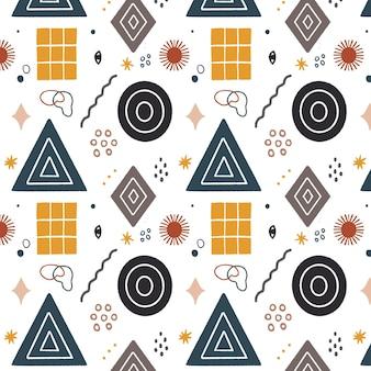 Handgetekend patroon met geometrische vormen