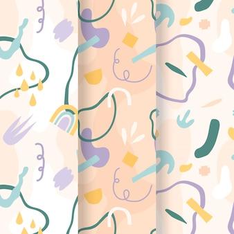 Handgetekend plat abstract vormenpatroonontwerp