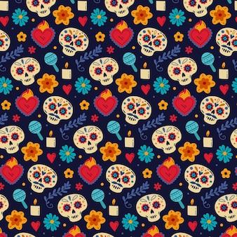 Handgetekend plat dia de muertos-patroonontwerp