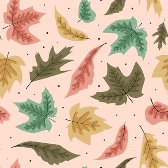 Handgetekend plat herfstpatroonontwerp
