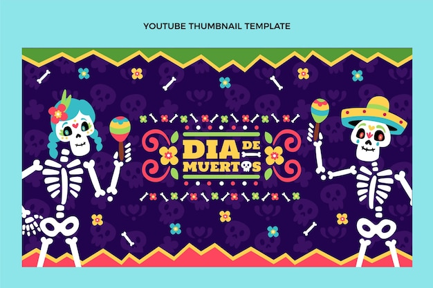 Handgetekend plat ontwerp dia de muertos youtube thumbnail