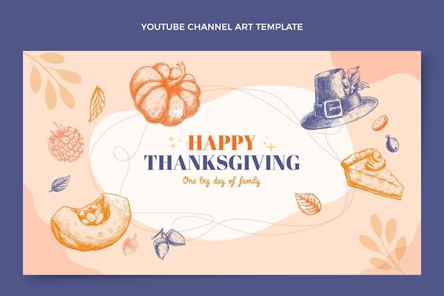 Handgetekend plat ontwerp thanksgiving youtube-kanaalkunst
