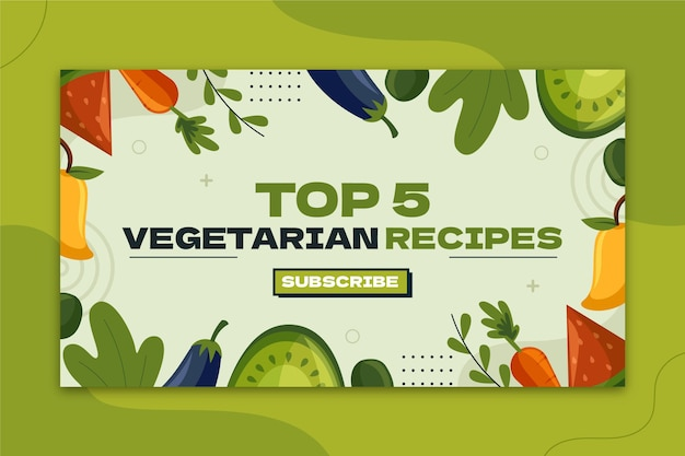 Handgetekend plat ontwerp vegetarisch eten youtube thumbnail