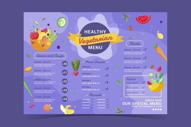 Handgetekend plat ontwerp vegetarisch menu