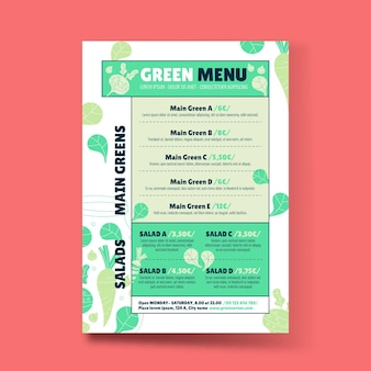 Handgetekend plat ontwerp vegetarisch voedselmenu
