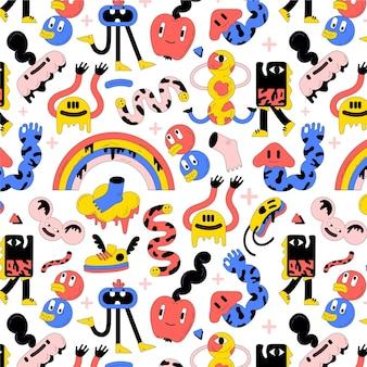 Handgetekend plat trendy cartoonpatroonontwerp