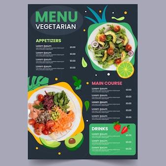 Handgetekend plat vegetarisch menu