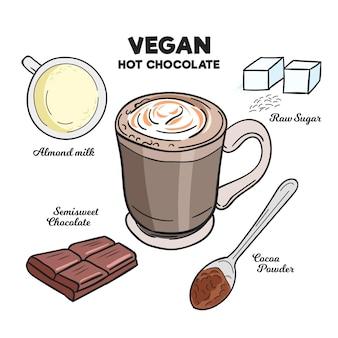 Handgetekend recept voor warme chocolademelk