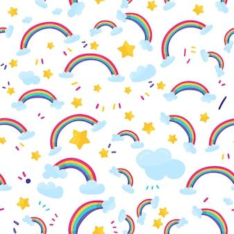 Handgetekend regenboogpatroon