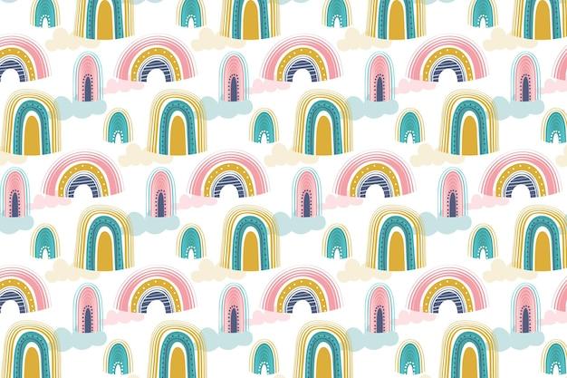 Handgetekend regenboogpatroonontwerp