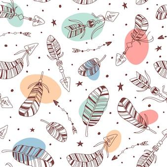 Handgetekend repetitief boho-patroon