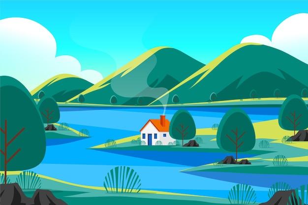 Handgetekend rivier- en huislandschap