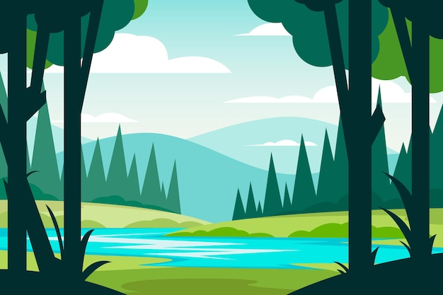 Handgetekend rivierlandschap
