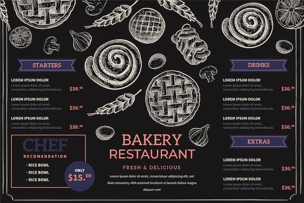 Handgetekend schoolbordmenu voor restaurant