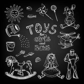 Handgetekend schoolbordspeelgoed voor meisjes en jongenskinderen