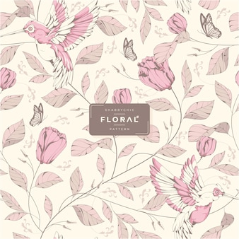 Handgetekend shabby chic bloemenpatroon