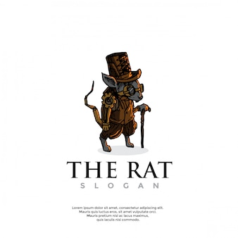 Handgetekend steampunk rattenlogo