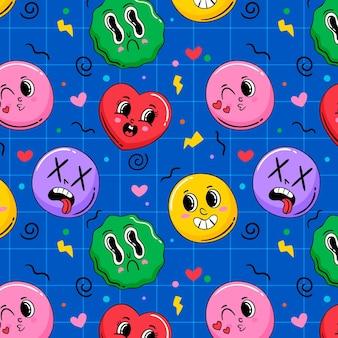Handgetekend trendy cartoonpatroon