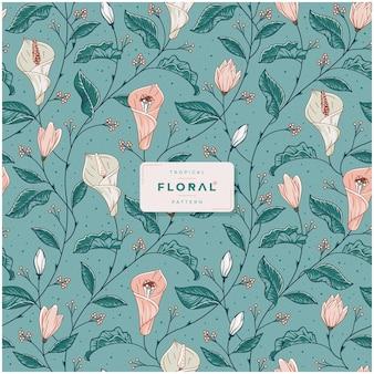 Handgetekend tropisch bloemenpatroon