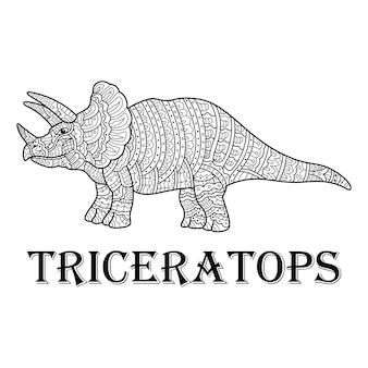 Handgetekend van triceratops in zentanglestijl