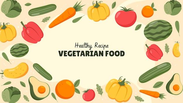 Handgetekend vegetarisch eten youtube thumbnail