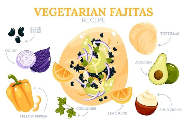 Handgetekend vegetarisch fajitas recept