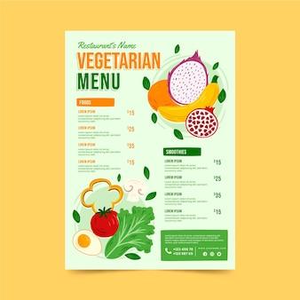 Handgetekend vegetarisch menu