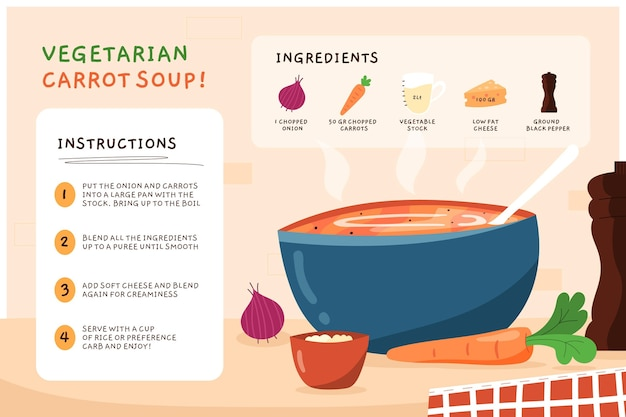Handgetekend vegetarisch recept voor wortelsoep